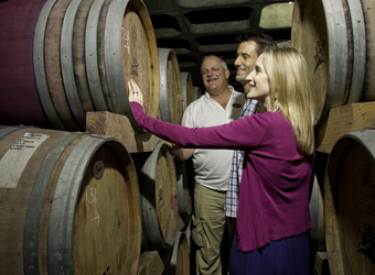 Safari guests are shown around wine cellars by a tour guide at a vineyard in cape winelands, South Africa