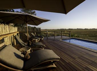 Kwetsani Camp, en suite bathroom with great views of surrounding wilderness,dual black fishbowl sinks,luxury wood counter top, Botswana, Africa