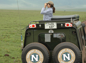 A beautiful young woman trains her binoculars on wildlife from inside the safe confines of a safari vehicle  in Ngorongoro Crater, Tanzania