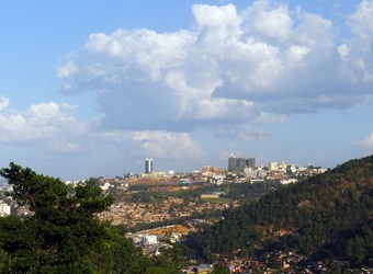 A view of the downtown area of Kigali from a neighboring hill in Rwanda