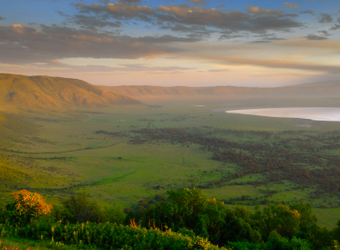 A picturesque overhead plane view of the expansive green plainlands of the interior of the Ngorongoro Crater, Tanzania