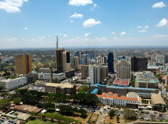 An overhead view of Nairobi, Kenya, a former colonial capital of British East Africa, skyscrapers, downtown